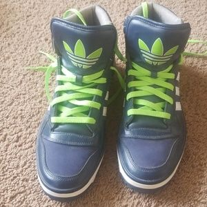Original Adidas Navy Blue and Lime Size 10.5